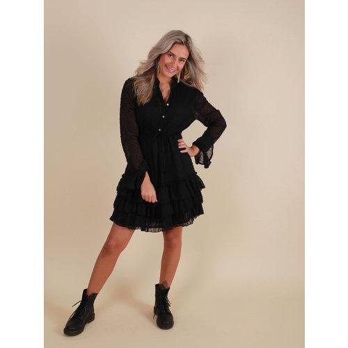 VINTAGE DRESSING Dot Print Ruffle Dress Black