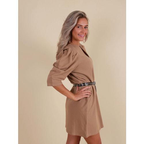 VERA & LUCY Oversized Shirt Dress Camel