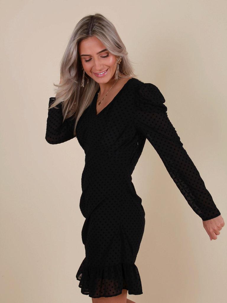 IVIVI Dots Ruffled Dress Black