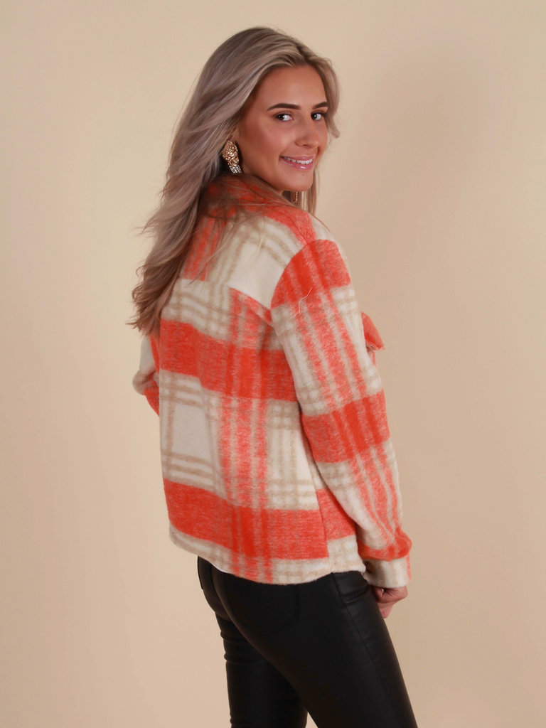 NEW COLLECTION Checkered Jacket Orange