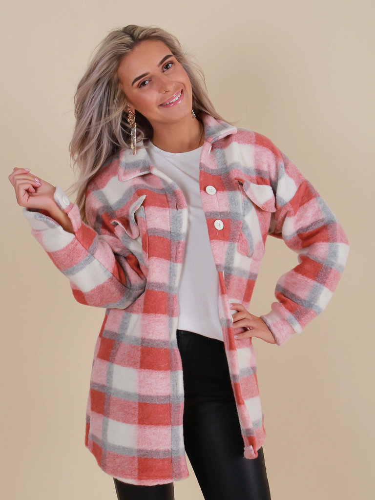 NEW COLLECTION Checkered Jacket Old Rose