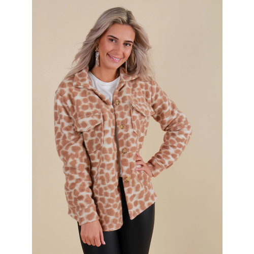 NEW COLLECTION Dotted Print Jacket Camel