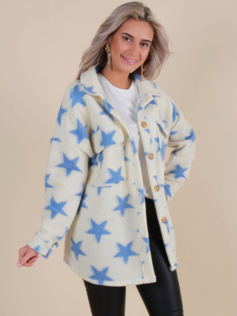 WHITE ICY Star Jacket Blue