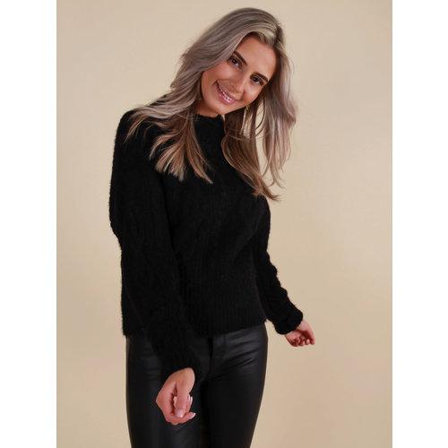 BISOU'S PROJECT Short Cable Knit Jumper Black