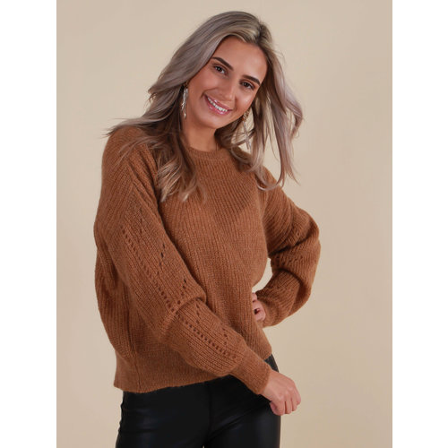MISS MISS Fine Knitted Jumper Camel