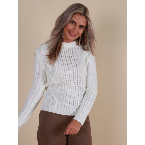 MISS MISS Cable Knit Jumper Off White