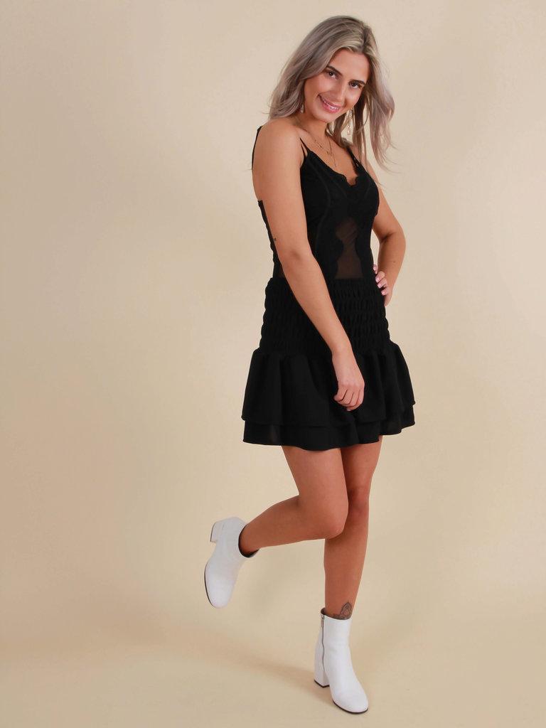IVIVI Skirt Elastic Ruffle Black