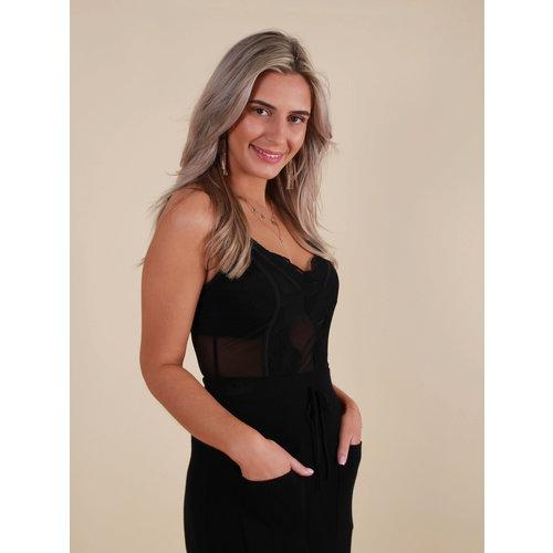 LADYLIKE FASHION Lace Mesh Bodysuit Black