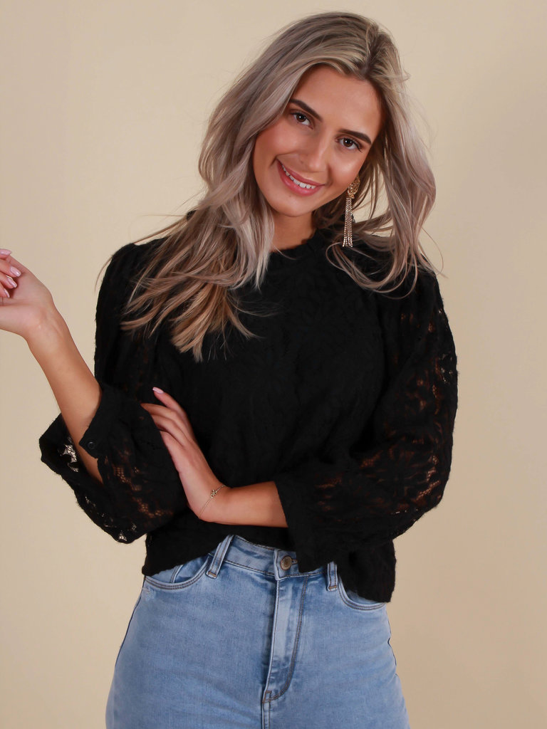 VERA & LUCY Lace Puff Sleeve Blouse Black