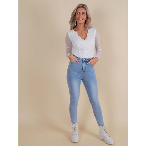 QUEEN HEARTS Skinny Jeans Hoge Taille Lichtblauw