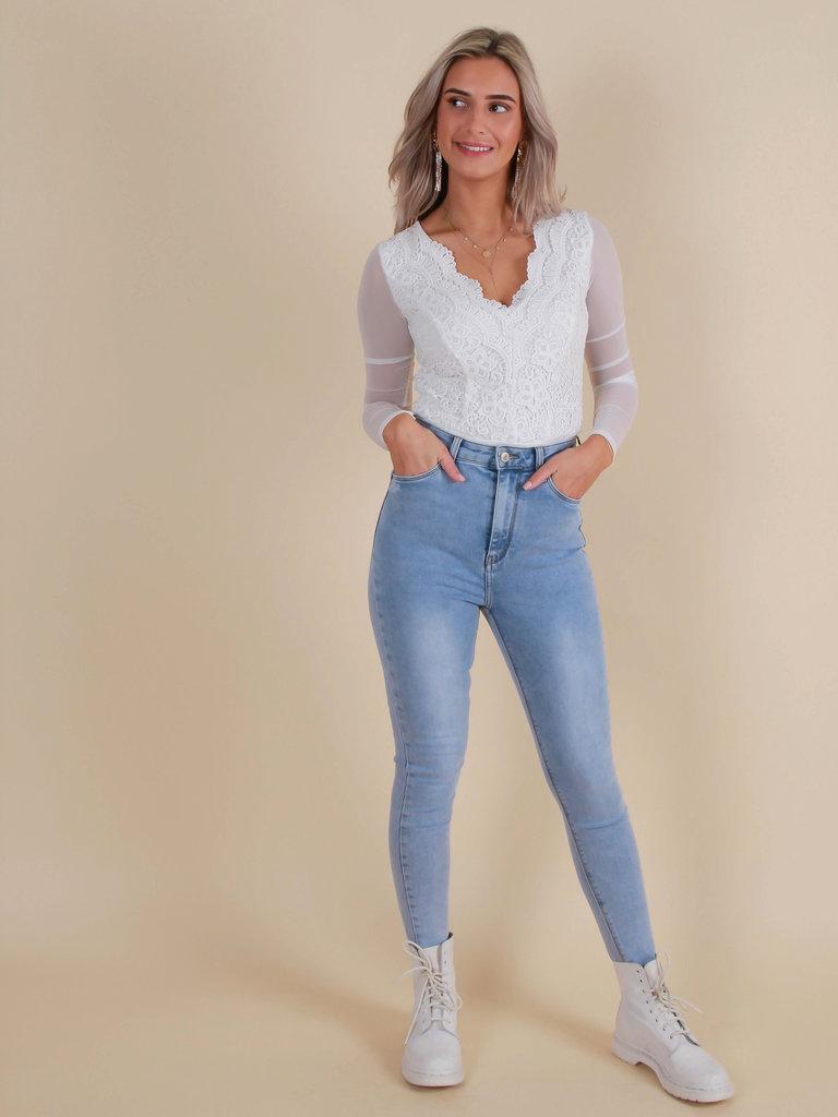 QUEEN HEARTS Skinny Jeans Super High Waist Light Blue