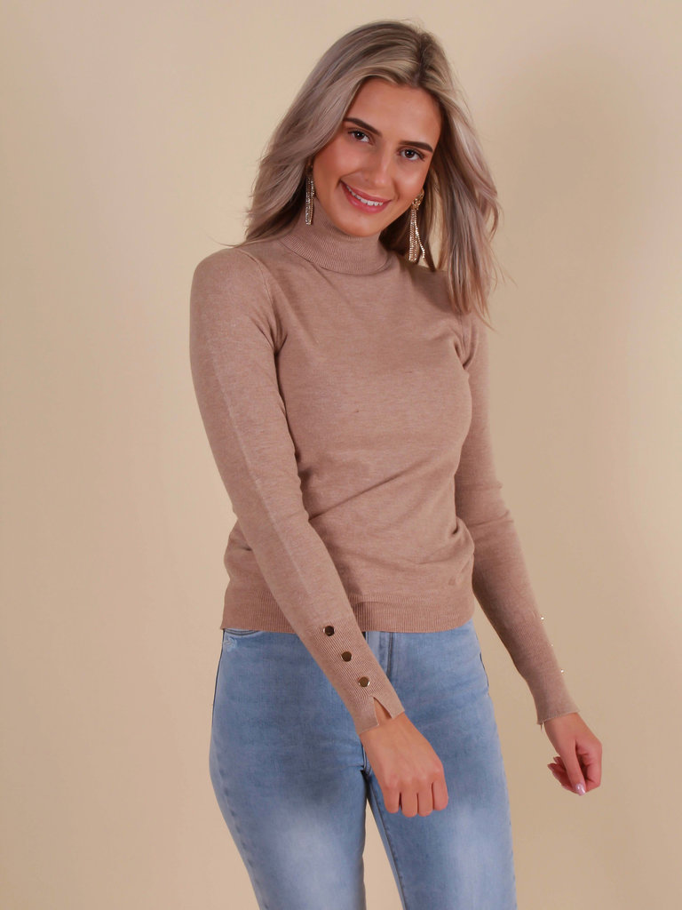 CHERRY KOKO Roll Neck Jumper Beige