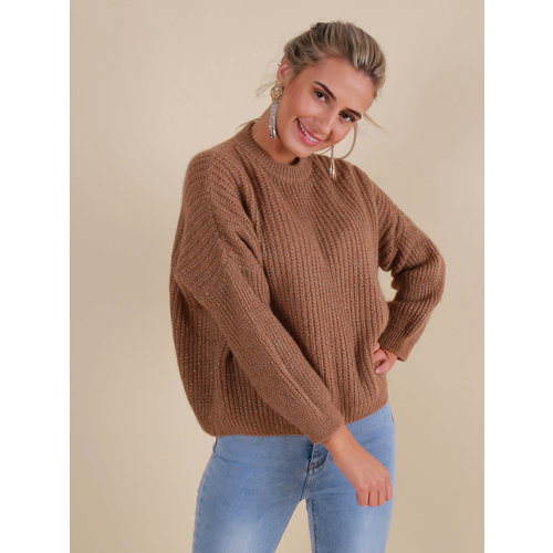 MISS MISS Knitted Jumper with Shimmer Brown