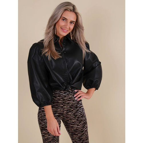 IVIVI Leather Look Blouse Black