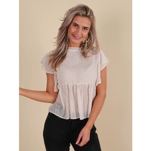BY CLARA Blouse Ruches Mouw Beige