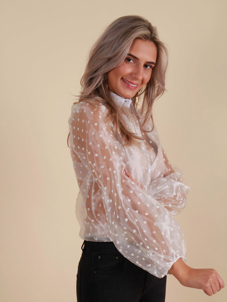 CHERRY KOKO Sheer Dots Blouse White