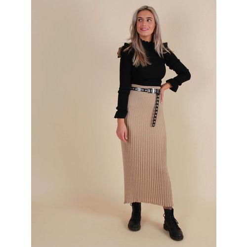AN'GE Pleated Lurex Skirt Gold