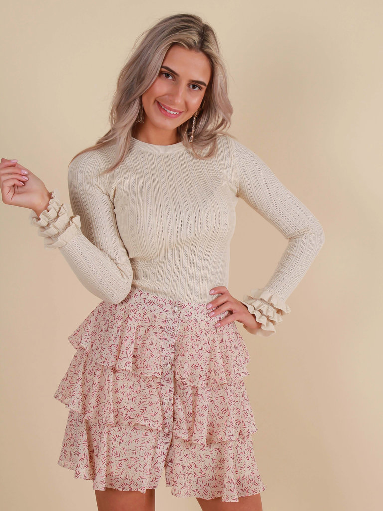 BY CLARA Jumper Ruffled Sleeve Beige