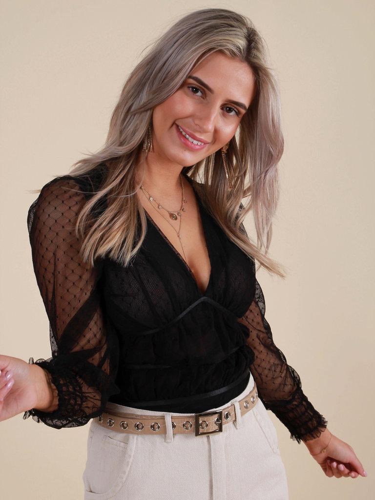 BISOU'S PROJECT Bodysuit Sheer Dot Print Black