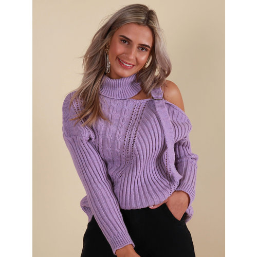 LADYLIKE FASHION Knitted Jumper Open Side Lilac