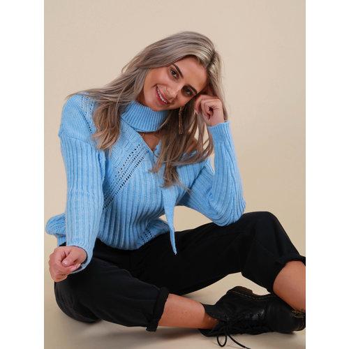 LADYLIKE FASHION Knitted Jumper Open Side Blue