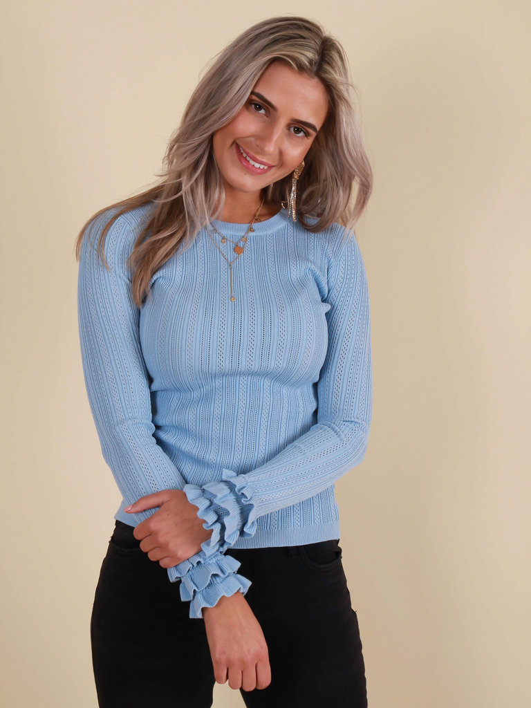 BY CLARA Jumper Ruffled Sleeve Blue