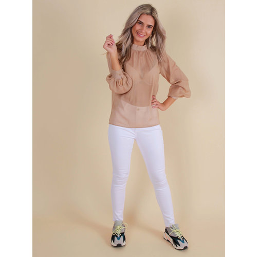 QUEEN HEARTS Skinny Jeans Hoge Taille Wit