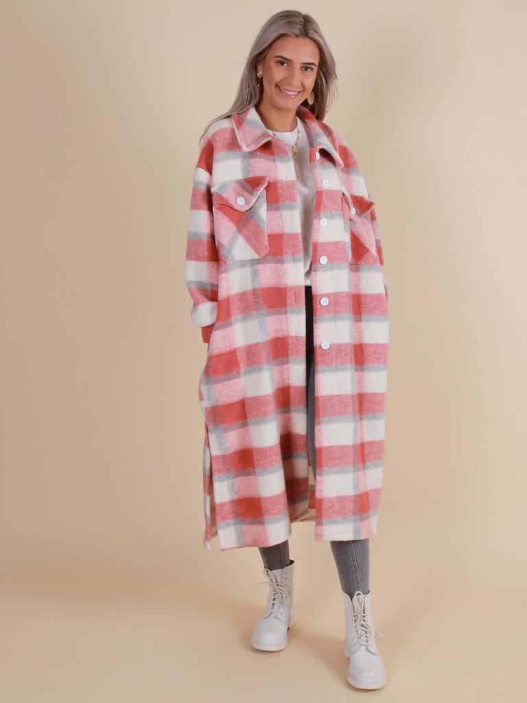 MYBEL Long Checkered Jacket Old Pink