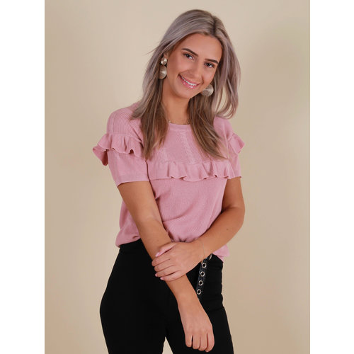 BY CLARA Short Sleeve Jumper Ruffled Front Pink