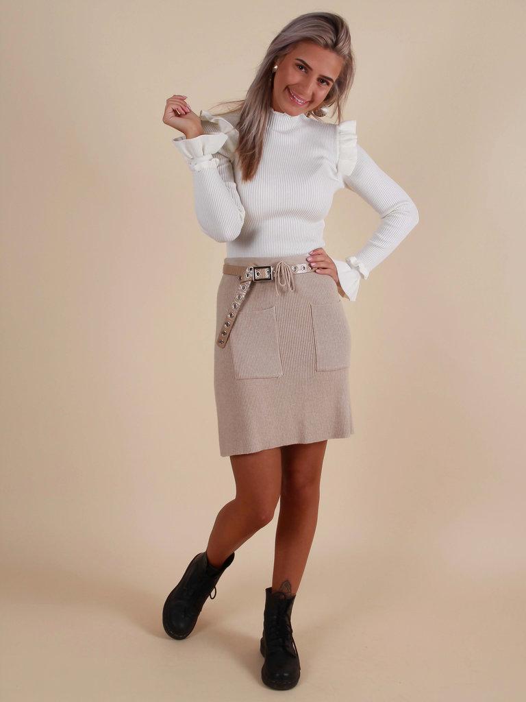 PURPLE QUEEN Rib Skirt Beige