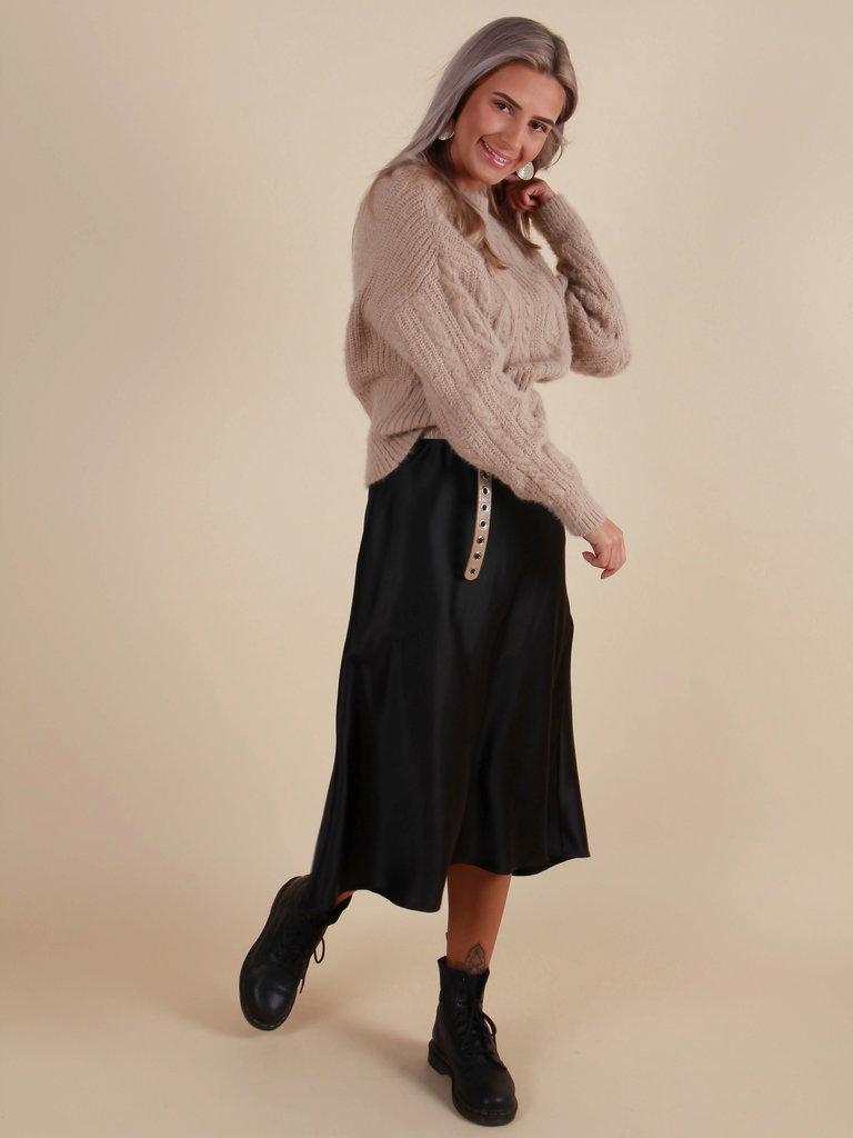 KILKY Satin Midi Skirt Black