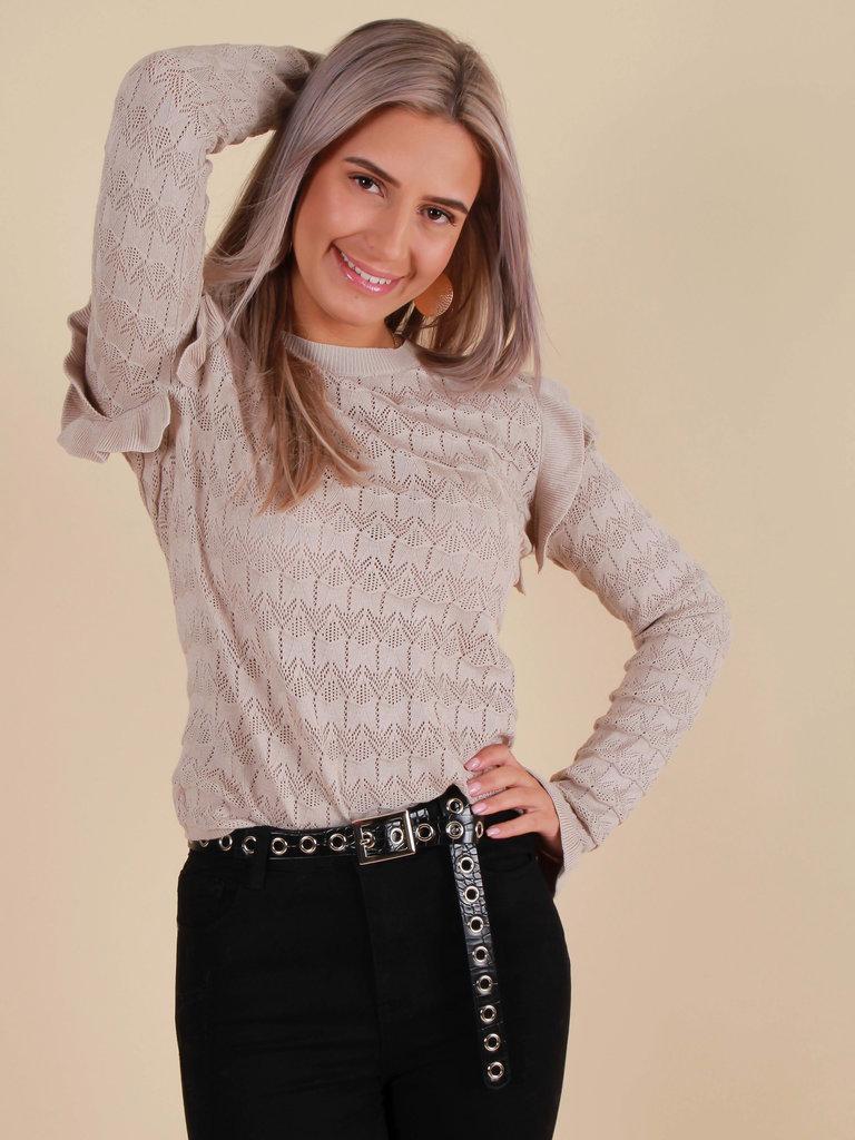 EMMA & ASHLEY Ajour Knit Jumper Beige