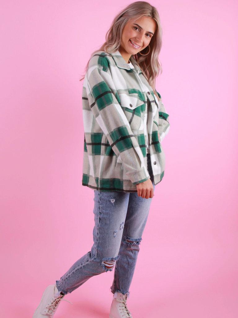 RISING Checkered Blouse Green