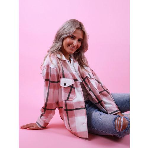 RISING Checkered Blouse Pink