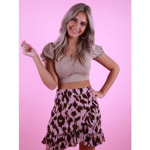BY CLARA Leopard Print Wrap Skirt Pink