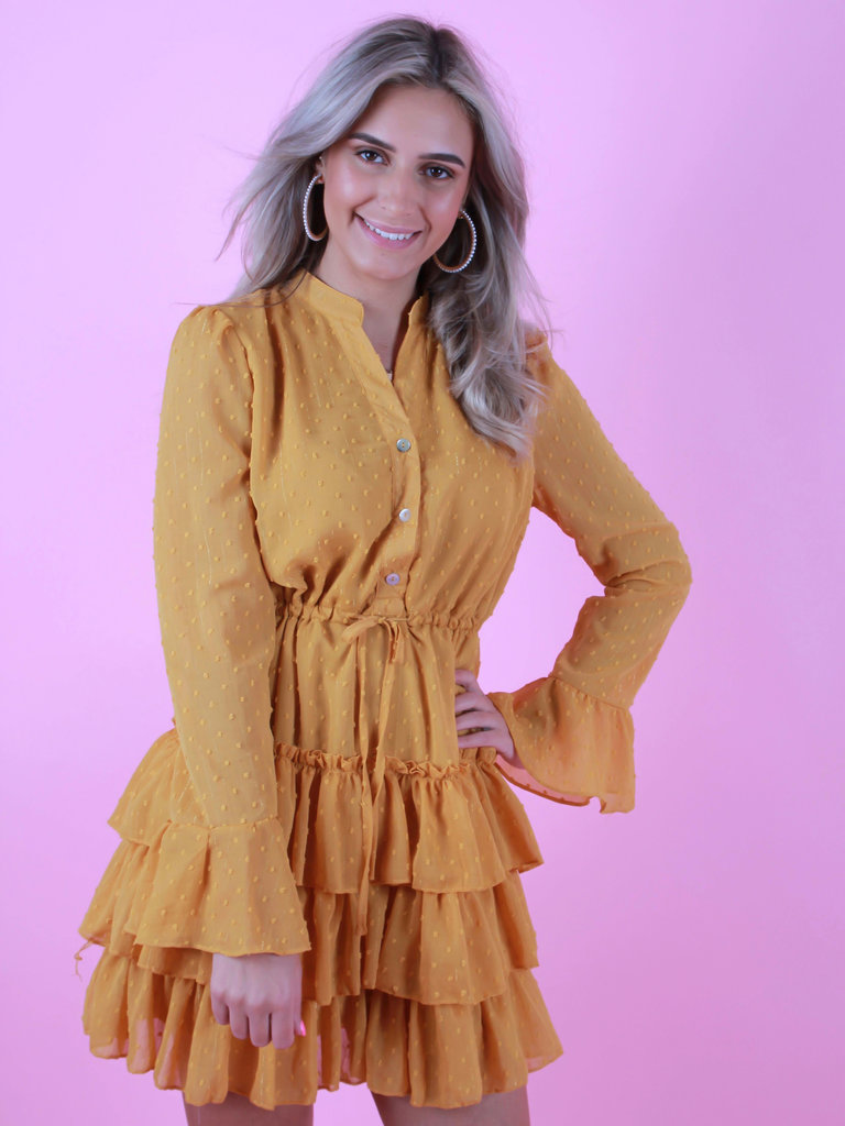 RETRO ICONE Dot Print Ruffle Dress Yellow