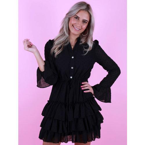 RETRO ICONE Dot Print Ruffle Dress Black