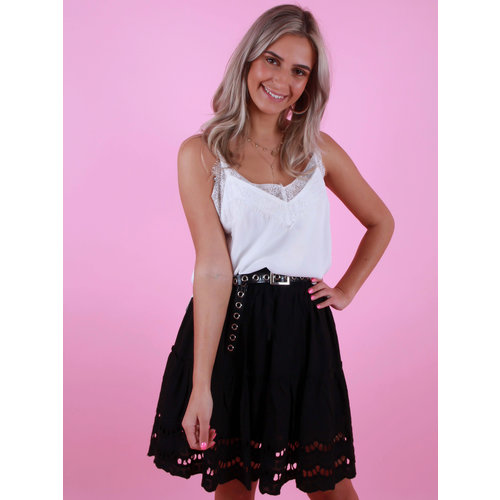 VERA & LUCY Cami Top With Lace White