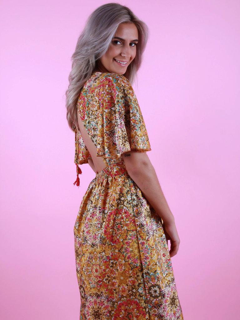 PURPLE QUEEN Maxi Dress Open Back Yellow