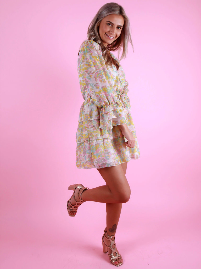 PURPLE QUEEN Floral Print Dress Yellow/White