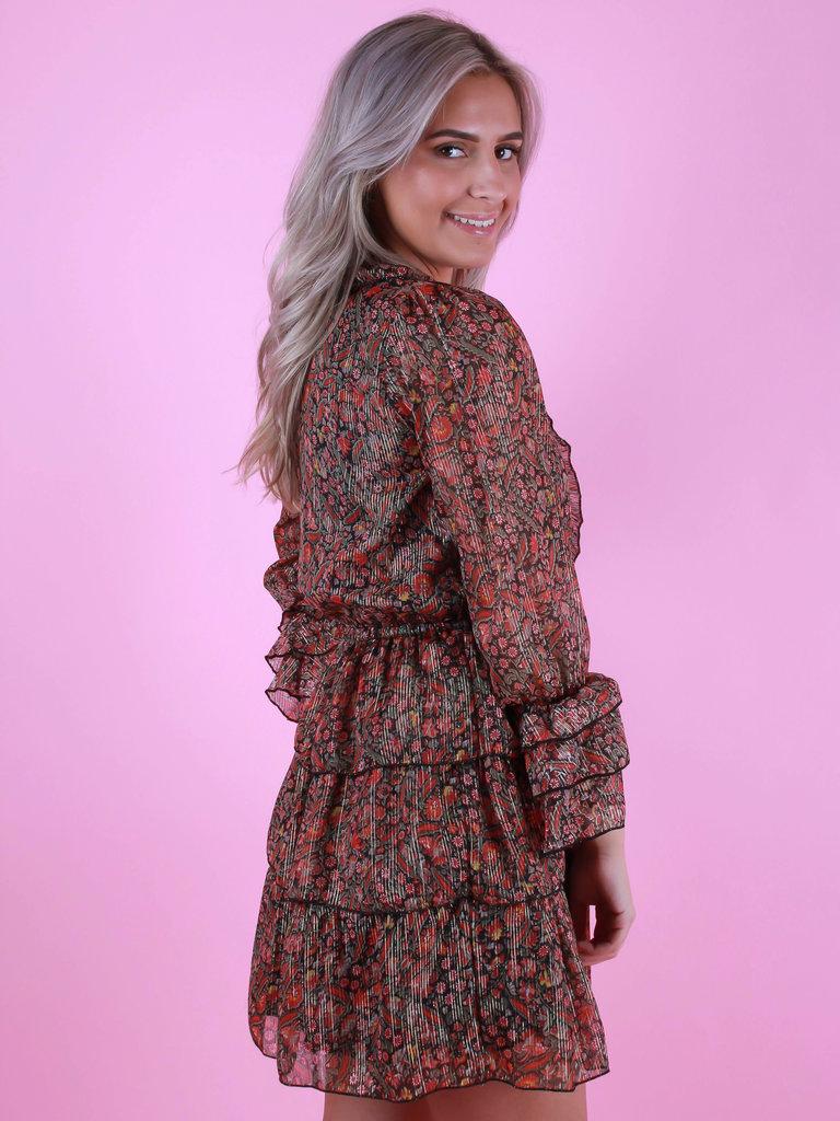 PURPLE QUEEN Floral Print Dress Black/Red