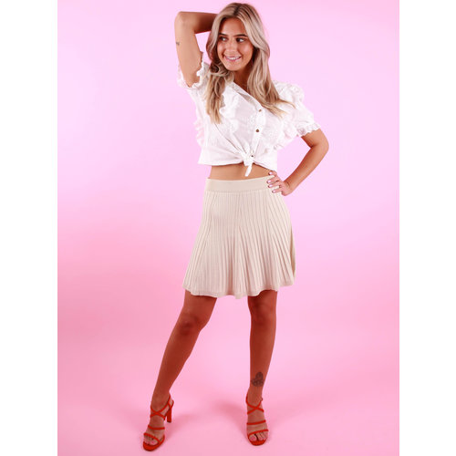 BY CLARA Ribbed Knitted Skirt Beige