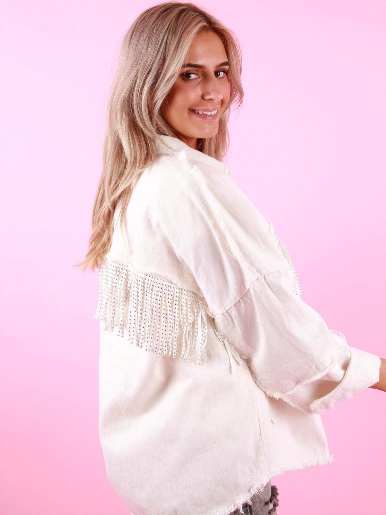 AÏKHA Jeans Jacket Fringe White