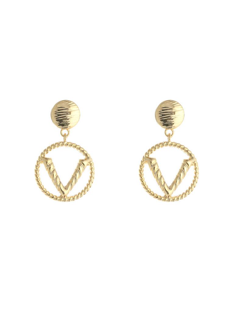 YEHWANG Earrings Fashion V Gold