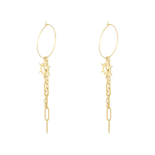 YEHWANG Earrings Chained Sun