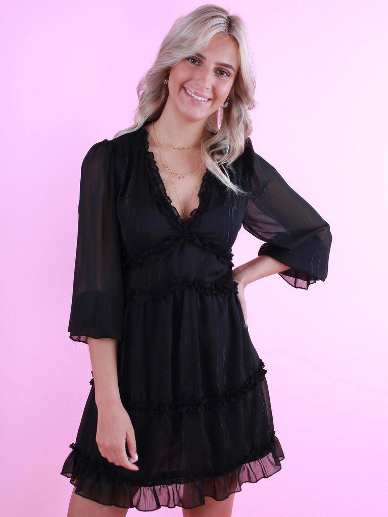 ELENZA Dress Silver Detail Black