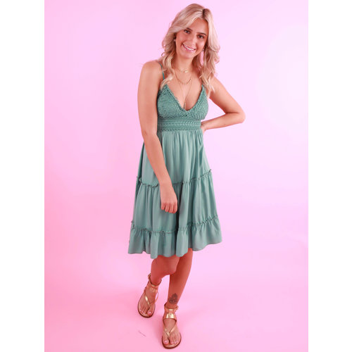CREATED BY K Lace Top Dress Green