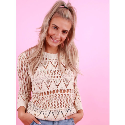 EXQUISS'S Gehaakte Top Beige
