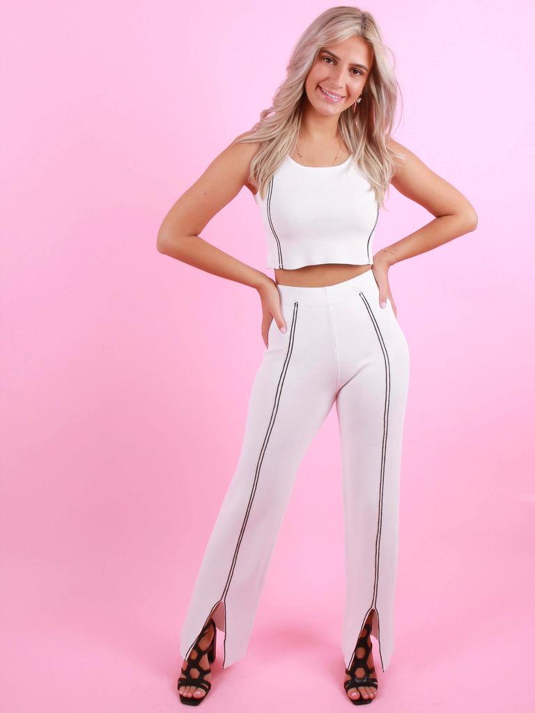 BISOU'S PROJECT Pants Stripe White
