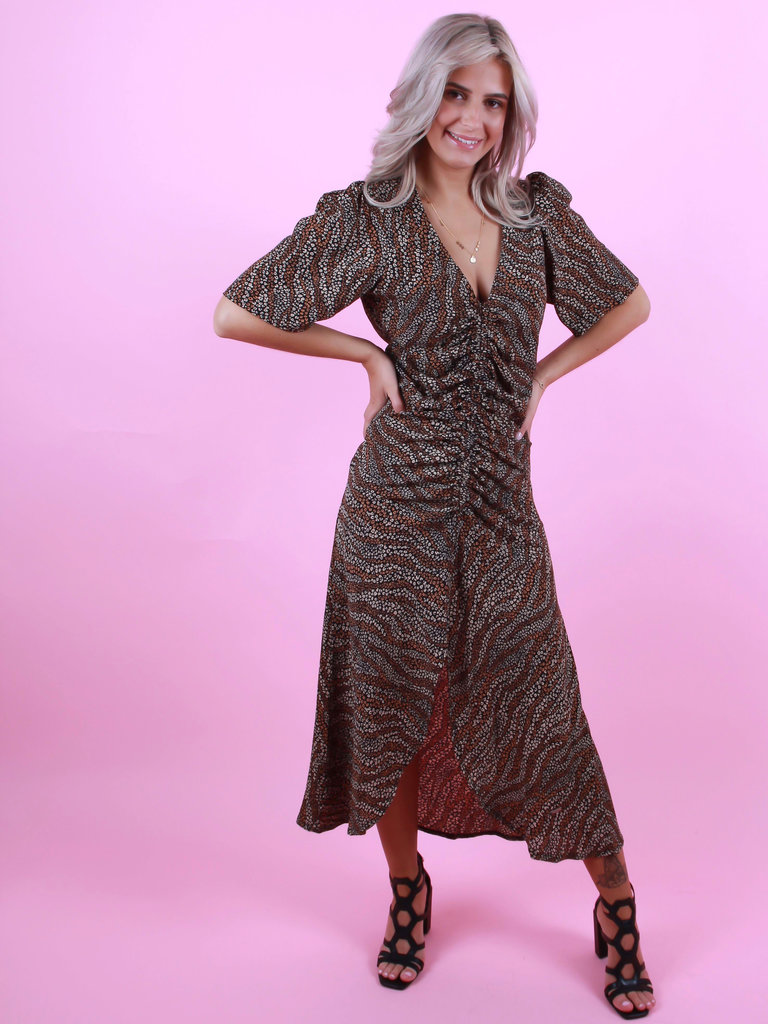 AMBIKA Long Leopard Dress Black